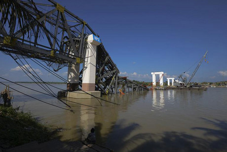 A bridge collapsed following the quake in central Myanmar (Reuters)