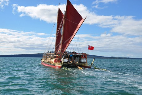 The double-hulled waka sailed out of Auckland in August  (AAP)