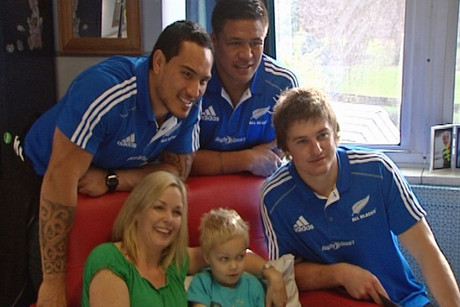 Some of the All Black squad started game day visiting the children's cancer ward at Christchurch Hospital