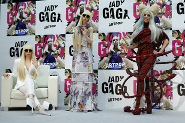 Singer Lady Gaga (on the right) poses with her Gagadolls (Reuters)