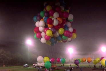 Trappe was using more than 300 colourful helium-filled balloons