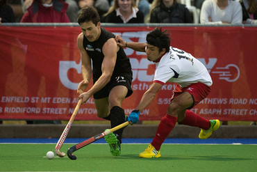 Black Sticks'  James Coughlan controls the ball against Japan (Photosport)