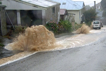 The water seemed to spew out from everywhere in Lyttelton and covered everything