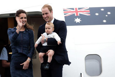 The Duchess and Duke of Cambridge and Prince George board a flight for Australia (Reuters)