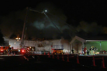 ixteen fire trucks were called to the Auckland film studios in hickory Ave in Henderson (3 News)