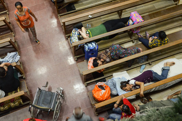 Christian refugees in St Joseph's Cathedral, Erbil (Photo: Joe Dowling/The Shutter Pirates)